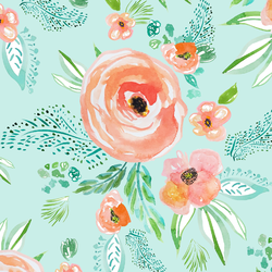 Summer Florals in Light Sea Breeze