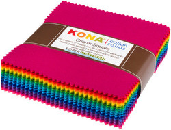"""Kona Solid 5"""" Square Pack in Bright 101"""