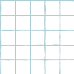 Windowpane in Powder Blue on White