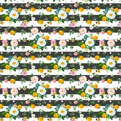 Small Orange Blossoms in Onyx Stripes