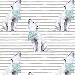 Arctic Wolf on Watercolor Stripes in Pebble