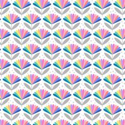 Rainbow Flower in Pastel on White