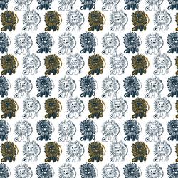 Block Print Lions in Deep Navy