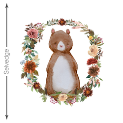 Autumn Bear Crib Quilt Panel in White