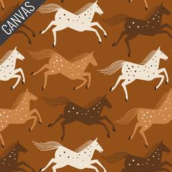 Wild Horses Canvas in Delightful Golden