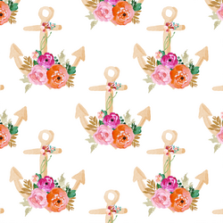 Floral Anchor in Coral and Pink