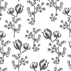Large Woodland Botanicals in Onyx on White