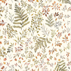 Autumn Ferns and Leaves in Cream