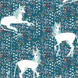 A Unicorn Meadow in Dark Topaz