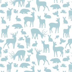 Forest Friends in Powder Blue on White