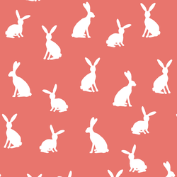 Cottontail Silhouette in Living Coral