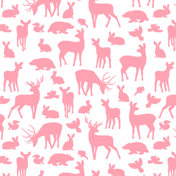 Forest Friends in Rose Pink on White