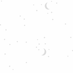 Moon and Stars in White
