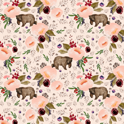 Small Floral Bear in Soft Peach
