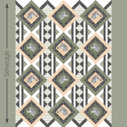 Zebra Hills Quilt Panel in Olive and Nectar