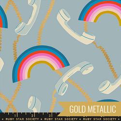 Retro Rainbows in Metallic Soft Blue