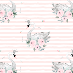 Blush Swans in Soft Blush Stripes