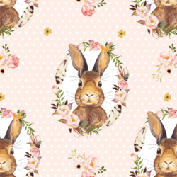 Bunny Love on Polka Dots in Pale Peach