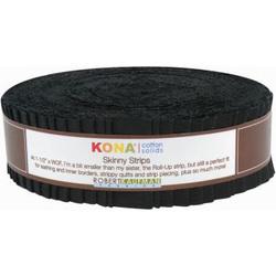 """Kona Solid 1.5"""" Strip Roll in Black"""