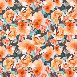 Autumn Floral in Warm Orange