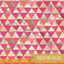 Collaged Triangles in Hot Pink Metallic