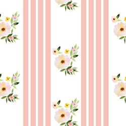 Floral Stripes in Pink Peach