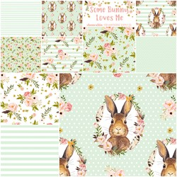 Some Bunny Loves Me Fat Quarter Bundle in Soft Moss