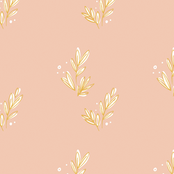 Floret in Gold on Pink
