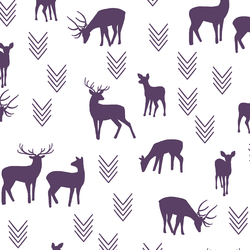 Deer Silhouette in Aubergine on White