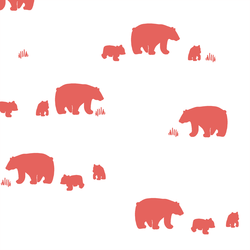 Bear Silhouette in Salmon