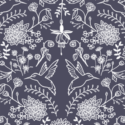 Hummingbird Damask in Ink