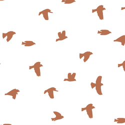 Flock Silhouette in Terracotta on White