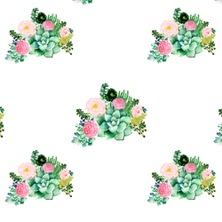 Small Floral Succulents in White