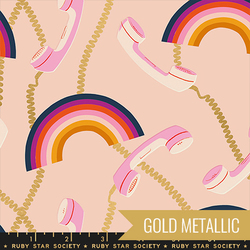 Retro Rainbows in Metallic Pale Pink