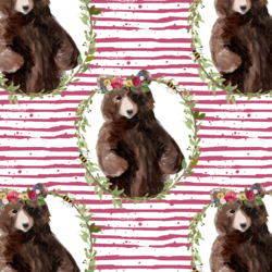 Floral Honey Bear Wreath in Mulberry Bush Stripes
