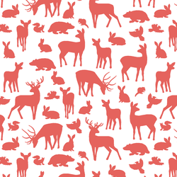 Forest Friends in Salmon on White