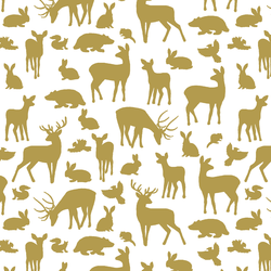 Forest Friends in Gold on White
