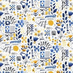 Tiles and Flowers in Yellow White Multi