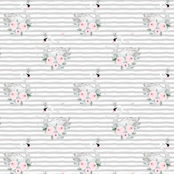 Small Blush Swans in Silver Stripes