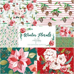 Winter Florals Fat Quarter Bundle Big Scale