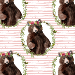 Floral Honey Bear Wreath in Pink Rose Stripes