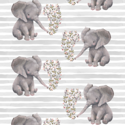 Baby Elephant on Stripes in Grey