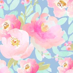Plush Peonies in Misty Blue