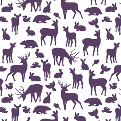 Forest Friends in Aubergine on White