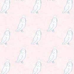 Small Crowned Owl in Sweet Pink and Cashmere Blue