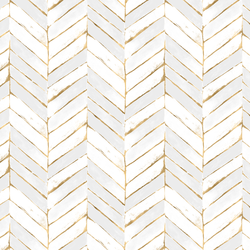Painted Chevron in White and Gold