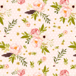 Bunny's Garden on Polka Dots in Pale Peach