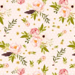Bunny's Garden on Polka Dots in Pale Peach