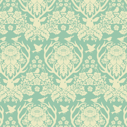 Little Antler Damask in Soft Aqua
