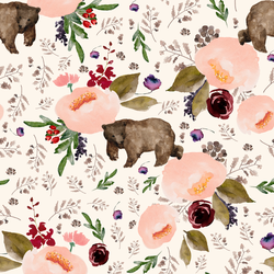 Floral Bear in Soft Ivory